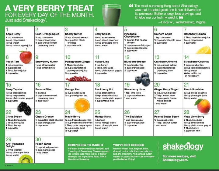 Greenberry Shakeology Recipe Calendar | Holly Hierman
