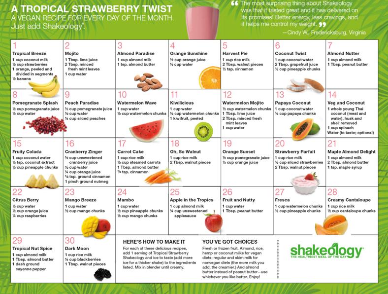 Tropical Shakeology Recipe Calendar | Holly Hierman